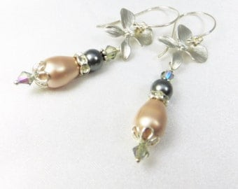 Bridal or Bridesmaid Silver Orchid Earrings with Swarovski Vintage Pink Champagne and Slate Gray Pearls on sterling silver