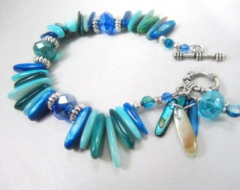 SALE 25% off! Ocean Blue Turquoise and Silver Mother of Pearl Shell Bracelet