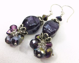 Chunky Purple Earrings with Silver and Crystal Dangles