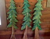 Pine Tree sculpture 4ft. chainsaw tree carving evergreen indoor outdoor wall mount rustic home decor country living log cabin art