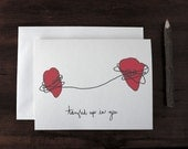 Valentine love note card - blank - tangled hearts