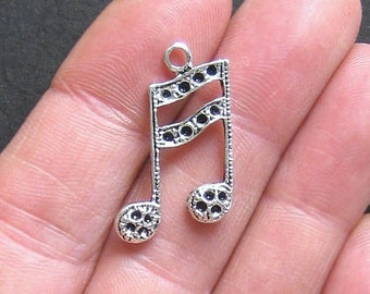 4 Music Notes Charms Antique Silver Tone Double Notes Larger Size - SC323