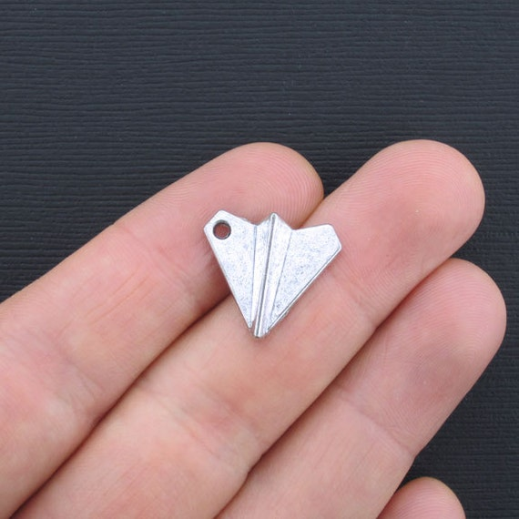 8 Paper Airplane Charms Antique Silver Tone 3d Sc2365