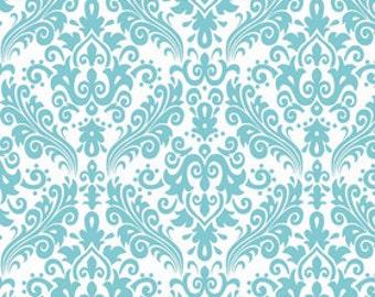 Riley Blake Fabrics Hollywood Sparkle Damask Fabric Aqua on White 22 Inches