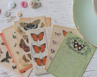 Butterfly notecards - small notecards - mini notecards - papillon - scrapbooking paper - butterflies -  - embellishments