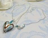 Venetian Murano Pendant Heart Necklace, Silver Seas Silverfoil Murano Heart Pendant Necklace w Sterling Silver & Swarovski Crystal Elements
