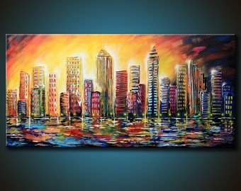 modern abstract painting 48x24 canvas colorful by