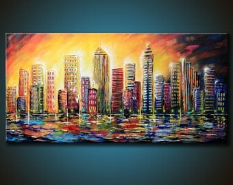 48x24 ORIGINAL City Abstract Painting Colorful TEXTURED Acrylic Buildings Fine Art by Federico Farias