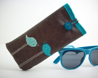 Eyeglass or Sunglass case in brown with teal birds