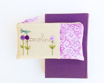 Personalized Gift for Best Friend, Birthday Gift for Her, Purple Floral Clutch, Unique Birthday Present MADE TO ORDER MamaBleuDesigns