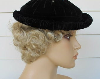 Vintage Hat Black Velveteen By Pierre Renaud