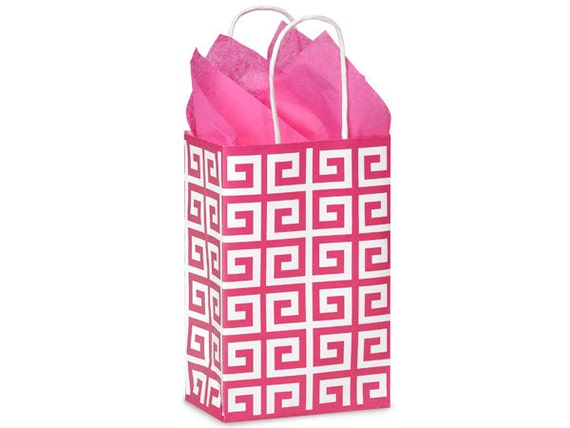 5 Hot Pink Geo Graphics Paper Gift Bag Paper Gift Bag