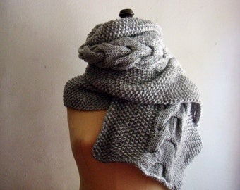 Knit Cable Scarf PATTERN, Unisex Cabled Scarf, 247