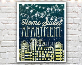home sweet apartment print - college apartment decor - first apartment decorations