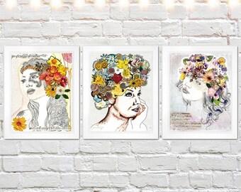 print set, bohemian art, mixed media collage art, giclee prints, set of three prints, bulk discount set, boho decor, illustration print