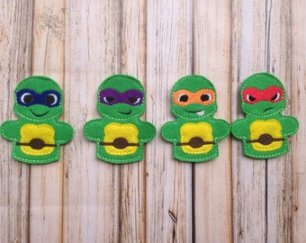 Ninja Turtle Inspired Finger Puppet Set