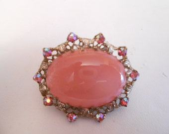 Vintage brooch, Art Nouveau style brooch, AB crystals and glass cabochon brooch, 1950s retro brooch, vintage jewelry