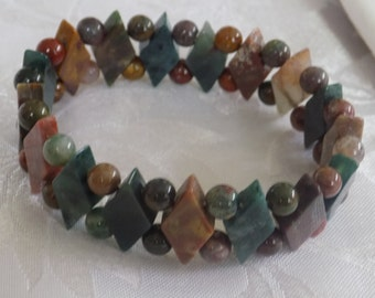 Vintage bracelet, green and brown agate stretchy bracelet, agate diamonds and beads, rustic bracelet