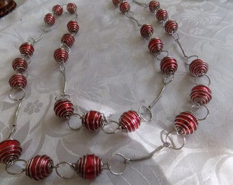 Vintage necklace, red bead and silver tone necklace, 50 inch necklace, statement necklace