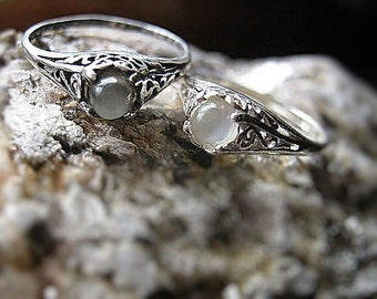 Tiny White Grey Catseye Moonstone Handmade Ring Sterling Silver shiny antique style filigree fine jewelry custom size 3 4 5 6 7 8 9 10 10.5