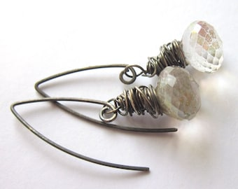 Sterling Silver Wire Wrapped Quartz Earrings Faceted Briolette Fashion Jewelry