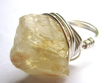 Raw Stone Citrine Wire Wrapped Ring Rough Gemstone Boho Fashion Jewelry