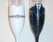 United States Coast Guard Uniform and Wedding Dress Hand Painted Champagne Flutes Set of 2 / 6 oz.