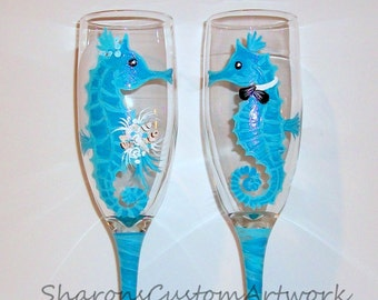Seahorses Bride And Groom Hand Painted Set By