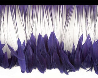 Royal Purple Stripped Fringe Feathers- Soft, Lush, High Quality, Priced Per Inch