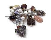 Modern Heirloom - Vintage Inspired - Charm Bracelet - Southwest Neutrals - Rattlesnake - Lampwork - Nail Polish