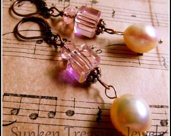 Edwardian Pink Crystal Earrings, Pink Pearl Earrings, Square Crystal Earrings, Downton Abbey Earrings, Romantic Pink Pearl & CrystalEarrings