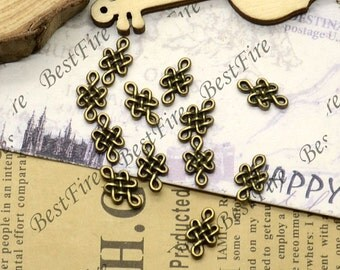 50PCS Of 7x11MM  Antique Bronze Connector Chinese knot,metal finding,pendant beads,two holes Charms
