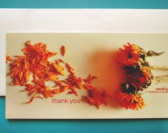 4x8 Thank you Sunflowers Postcard Print