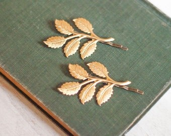Gold Brass Branch Bobby Pins Gold Leaf Hair Clips Nature Hair Accessories Woodland Wedding Raw Brass Leaves Forest Fairy Pixie Hair Slides