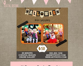halloween template mini session autumn flyer tree leaves mini marketing blog post template INSTANT DOWNLOAD square