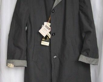 Mens 1960s Raglan/ ViNTaGe Overcoat/ Rain Coat NEW/ Gray Gingham Reversible Jacket/