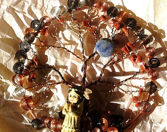 Wire Wrapped Tree of Life with Native American Girl Ornament