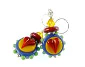 Red Heart Earrings, Lampwork Earrings, Glass Bead Earrings, Lampwork Jewelry, Purple Yellow Dangle Drop Earrings, Glass Bead Jewelry