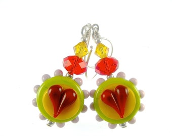 Lampwork Earrings, Red Heart Earrings, Glass Bead Earrings, Lampwork Jewelry, Lime Green Yellow Earrings, Glass Bead Jewelry