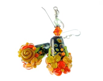 Lampwork Earrings, Peach Flower Cone Earrings, Black Glass Bead Earrings, Orange Dangle Earrings, Beadwork Earrings, Lampwork Jewelry