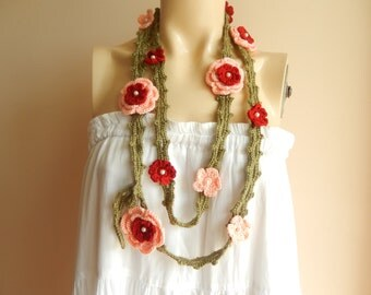Salmon Necklace  Scarf- Lariat Scarf with Rose  Pin-2 pcs