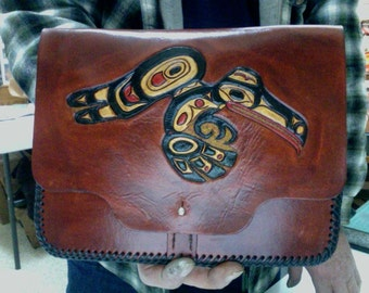 I Pad Case / Leather / Custom / Hand Carved and Tooled /Raven/ Bear / Alaskan / Native / Hand Made / Totem,  Design's / Tablet / Cover /Case