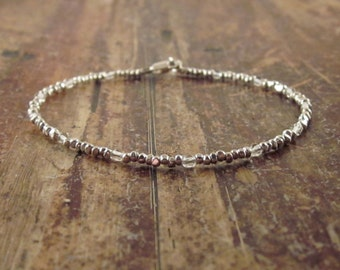 April Birthstone Bracelet Quartz Bracelet Womens Gift for Her Clear Quartz Bracelets  Hill Tribe Silver Bead Bracelet Rock Crystal Jewelry