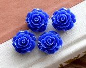10pcs  Beautiful Colorful Rose Flower Resin Cabochon  --20mm(CAB-BS-61)