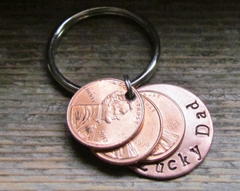 New Dad Daddy THREE Penny Lucky Dad Key Chain Keychain Hand Stamped Charm Choose Your Own Penny Year from 1950 to 2017 New Dad Daddy Gift