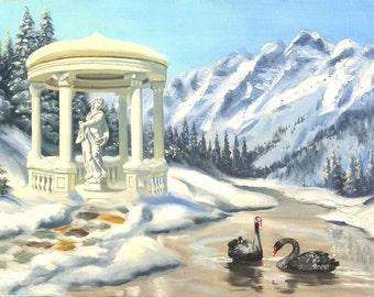 Black Swans winter gazebo 24x36 original oils on canvas painting by RUSTY RUST / S-99