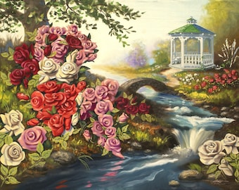 Rose illusion gazebo landscape oils on 30 x 40 canvas painting by RUSTY RUST / M-205