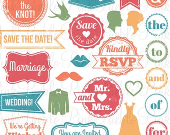 Vintage Wedding Stamps Photoshop Brushes, Retro Wedding Invitation Tags Badge Frames Photoshop Brushes - Commercial and Personal Use