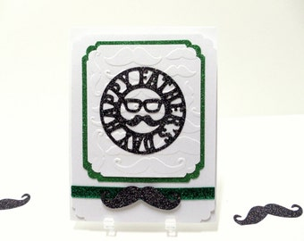 Dads Card Father's Day Card Embossed Card Mustache Card Greeting Card Card For Dads Father's Day Greeting  Embellished Card  Green Card