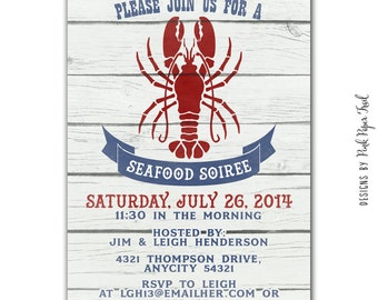 Seafood Party Invitation, Lobster Party, I will customize for you, Printable Invitation